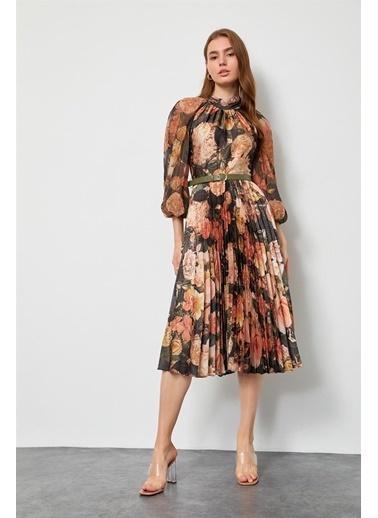 Setre Lila Floral Desen Piliseli Elbise Haki